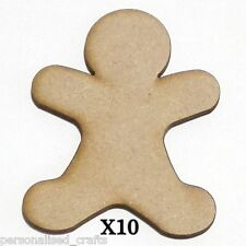 X10 Wooden MDF 80mm Christmas Gingerbread-Man  Decorations Embellishments /Cards