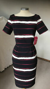 PAPER DOLLS LONDON LADIES BLUE RED WHITE STRIPE SMART FITTED DRESS Size 8 UK NEW