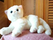 """Ty Crystal White Plush Lounging Cat 7"""" very soft"""