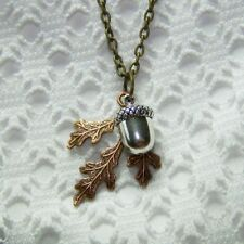Acorn & Oak Leaf Necklace, Copper & Sterling Acorn, Autumn Jewelry Thanksgiving