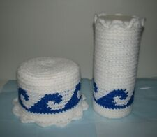 Handmade Toilet Paper Roll & disinfection container Cover Crochet WHITE blue