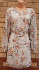 PRIMARK WHITE GREY FLORAL PINK NUDE RARE SHIFT SMOCK FORMAL TUNIC RARE DRESS M