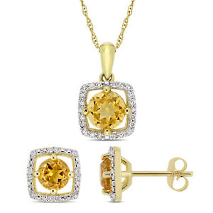 Amour 10k Yellow Gold Citrine and Diamond Floating Halo Necklace & Earrings Set