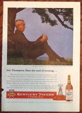 Kentucky Tavern whiskey ad 1957 original vintage print 1950s Col.Frank Thompson