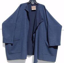"NWT Eskandar INDIGO Tonal Basketweave Stretch Wool 35"" Long Jkt Coat (1) $1295"