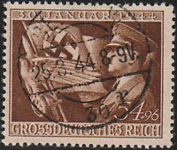 Stamp Germany Mi 865 Sc B252 1944 WWII Fascism War Era Hitler Eagle Used