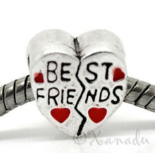 Best Friend Red Heart European Bead For European Charm Bracelets And Necklaces