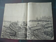 GRAND DESSIN 1900 PECHE CASIERS MER COQUILLAGES PECHEUR