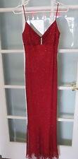 Red stretch gown sparkle ladies small formal spaghetti strap glitz prom KIKI