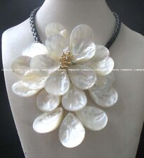 "sea shell flower white quartz necklace 18"" wholesale gift beads drop nature hot"
