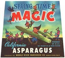 *Original* Spring Time Magic Cartoon Elf Brownies Asparagus Label Not A Copy!