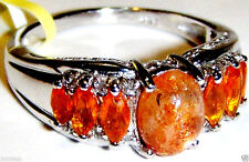ORANGE SUNSTONE OVAL, FIRE OPAL MARQUISE & DIAMOND RING, 925, SIZE 8, 2.59(TCW)