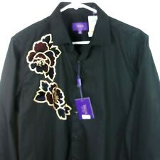Tallia Mens Long Sleeve Dress Shirt Medium Black Button Down with Floral Patch