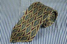 Joseph Abboud Men's Tie Burgundy Green & Gold Geometric Printed Silk Necktie
