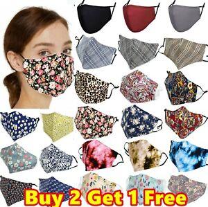 Unisex 100% Cotton 3 Layers Face Cover Mask Washable Reusable Breathable Dust