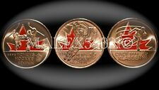 2009 CANADA COLOURED GOLDEN MOMENTS 25 CENTS SET UNCIRCULATED (3 COINS)