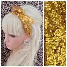 NEW GOLD SEQUIN BENDY WIRE HAIR WRAP WIRED HEADBAND SCARF STYLE VINTAGE GLAMOUR
