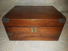 Antique Wooden Oak And Brass Inlaid Writing Slope With Lock And Key