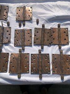 "14 Vintage Copper Flash Brass Door Hinges 5"" x 5"" Pineapple Knurled Pins"