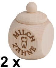 2 x Holzdose Dose Zahndose Milchzahndose mit Schraubdeckel Milchzähne 4x4x6 cm