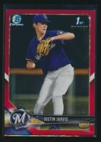 JUSTIN JARVIS 1st 2018 Bowman Chrome Draft RED REFRACTOR #/5 Brewers Rookie RC
