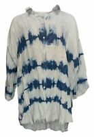 Laurie Felt Women's Plus Sz Top 1X Tye Dye Painter Shirt Blue A379356