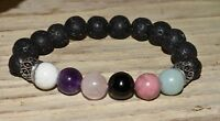 Lava Rock Amazonite Howlite Bracelet Stress Anxiety Relief Aromatherapy Crystals