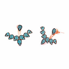 925 Sterling Silver Turquoise Pave Ear Cuff Jacket Earrings Rose Gold Plated