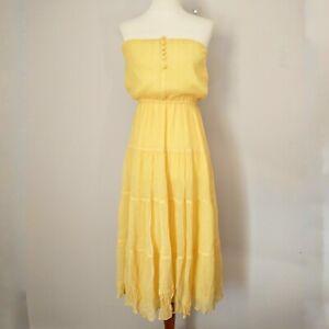 Moda International Silk Sundress Yellow Size 4 Strapless Tiered Ruffles Peasant