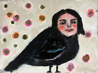 8x10 Print - Human Girl Bird Blackbird Crow Print by Katie Jeanne Wood