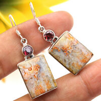 925 Sterling silver Crazy Lace Agate & Mozambique Garnet Hand Made Earring