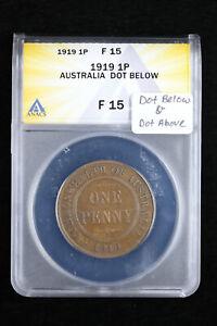 1919 1P Australia 1 Penny ANACS F15 Low Mintage Dot Above & Dot Below