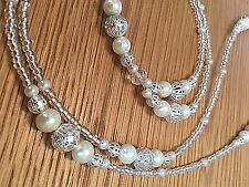 Silver Filigree Ivory Pearl Beaded Lanyard ID Badge/Pass/Card Holder Great gift.