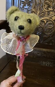 Vintage Collector's Teddy Bear Head On Stick. No Smoking Home.