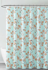 Aqua White Brown Floral Design PEVA Shower Curtain Liner Odorless ECO FRIENDLY