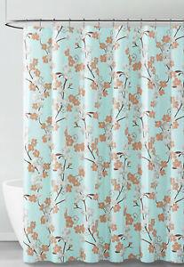 Aqua White Brown Floral Design PEVA Shower Curtain Liner Odorless ECO FRIENDLY