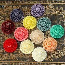 Wholesale Resin Cabochons Flatback Rose Daisy Dahlia Peony Flower Cameo Vintage