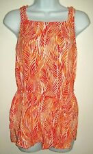 cato womens top size m red orange tropical leaf pattern tank sleeveless blouse