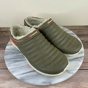 Merrell Applaud Chill Green Leather Fleece Lined Mules Clogs Womens Size 6.5