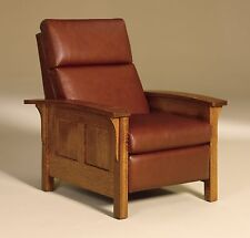 Amish Mission Arts and Crafts Recliner Chair Heartland Panel Solid Wood Leather