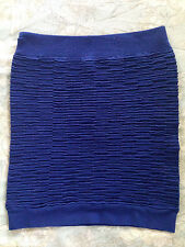 Electric Blue Stretch mini Pencil Skirt high-waist structured bodycon  bandage S