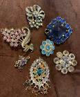 Mixed Lot Of Vintage Jewellery Items Spares Repairs Rhinestone Crystsls Glass