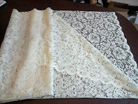 """Beige Floral Lace Fabric Remnant 58"""" Long x 57"""" Wide for Sewing Crafting"""
