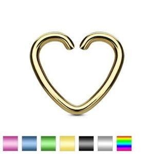 False Piercing Ear Cartilage Titanium Heart