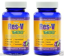 Resveratrol 1200 mg All Natural Antioxidant Grape Seed Extract Acai 2 Bottles