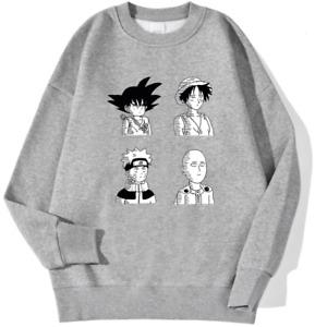 NarutoSaitama Luffy Goku Heroes Unisex Active Sweatshirt Long Sleeve Tops Anime