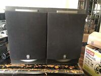 Pair Retro Vintage Black Wood Bookshelf Floor Yamaha Speakers NX-GX500 Tested