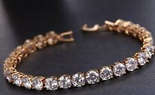 18k Gold Tennis Bracelet made w Swarovski Crystal Bling Stone Bridal Prom Jewel