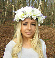 Large Cream White Purple Lavender Rose Flower Garland Headband Bridesmaid 2034