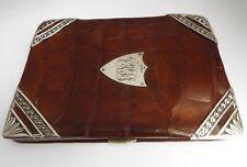 SUPERB LARGE ENGLISH ANTIQUE 1912 SOLID STERLING SILVER & CROCODILE SKIN WALLET